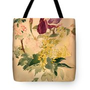 Flower Piece With Iris Laburnum And Geranium Tote Bag