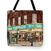 Flower Shop Rue Notre Dame Street Coin Vert Fleuriste Boutique Montreal Winter Stroll Scene Tote Bag