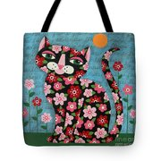 Flowered Calico Black Cat Tote Bag