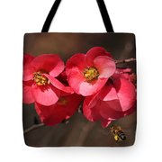 Flowering Quince With Bee Tote Bag