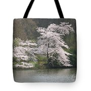 Flowering Tree At The Pond Tote Bag