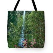 Flowering Tree Below Multnomah Falls Columbia River Gorge Nsa Oregon Tote Bag