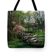 Flowering Trees In Bloom Along Fence Tote Bag