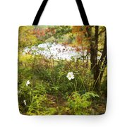 Flowers Along The River In Fall Tote Bag