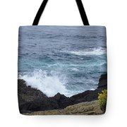 Flowers And Crashing Waves Tote Bag