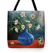 Flowers And Dragon Tote Bag