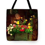 Flowers And Shovel On An Old Drill Truck Tote Bag