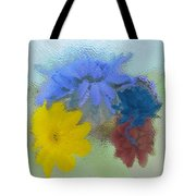 Flowers Behind Glass Tote Bag