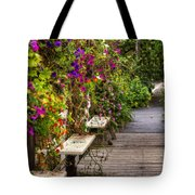 Flowers By A Bench  Tote Bag