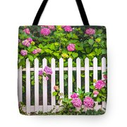 Flowers - Floral - White Picket Fence Tote Bag