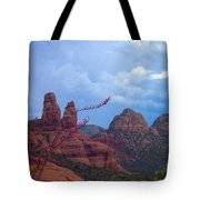 Flowers Front Of Twin Rocks Tote Bag