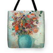 Flowers In A Turquoise Vase Tote Bag