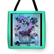 Flowers In A Vase With Blue Border Tote Bag