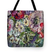 Flowers In An Antique Blue Vase Tote Bag
