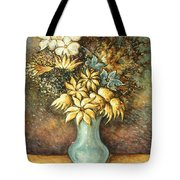 Flowers In Blue Vase - Still Life Oil Tote Bag