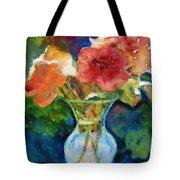 Flowers In Glass Vase Tote Bag