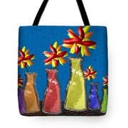 Flowers In Glass Vases Tote Bag