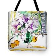 Flowers In Green Vase Tote Bag