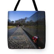 Flowers Left At The Vietnam War Memorial Tote Bag
