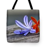 Flowers Of Blue And Orange Tote Bag