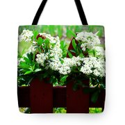 Flowers On Fence Tote Bag