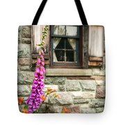 Flowers Stone And Old Country Window Tote Bag