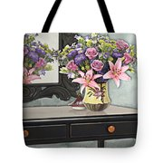 Flowers Table And Mirror In The Foyer Still Life Tote Bag