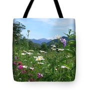 Flowers View Of The Mountains Tote Bag