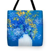 Flowers With Blue Background Tote Bag