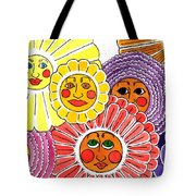 Flowers With Faces Tote Bag