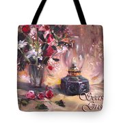 Flowers With Lantern Christmas Card Tote Bag