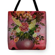 Flowers With Red Background Tote Bag