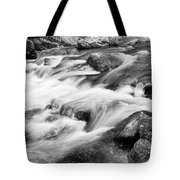 Flowing St Vrain Creek Black And White Tote Bag