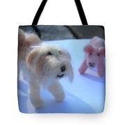 Fluffums - Lhasa Apso Tibetan Terrier And Piglet Tote Bag