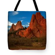 Fluffy Clouds Over Jagged Peaks Tote Bag