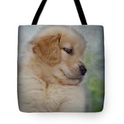 Fluffy Golden Puppy Tote Bag
