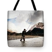 Fly Fishing At The Base Of Fitz Roy Tote Bag