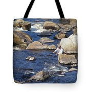 Fly Fishing On Mountain River Tote Bag