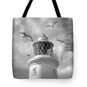 Fly Past - Seagulls Round Southwold Lighthouse In Black And White Tote Bag