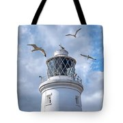 Fly Past - Seagulls Round Southwold Lighthouse - Square Tote Bag