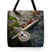 Fly Rod And Reel Detail On Mossy Wet Tote Bag