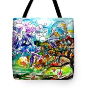 Flying Fish Tree And Bubbles Tote Bag