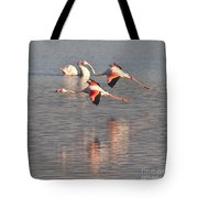 Flying Flamingos Tote Bag