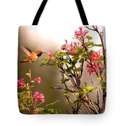 Flying Hummingbird Sipping Nectar Tote Bag