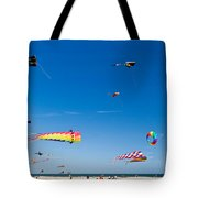 Flying Kites At St Augustine Beach Pier Tote Bag