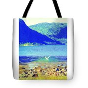 Seagull Flying Low, Mountains Standing Tall  Tote Bag