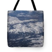 Flying Over The Snow Covered Rocky Mountains Tote Bag