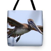 Flying Pelican Panorama Tote Bag