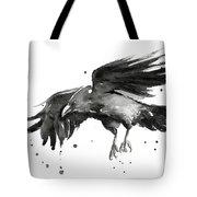 Flying Raven Watercolor Tote Bag