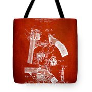 Foehl Revolver Patent Drawing From 1894 - Red Tote Bag